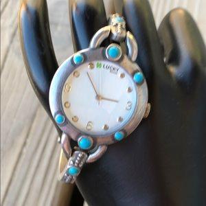 Lucky Brand Silver & Turquoise Boho Bracelet Watch